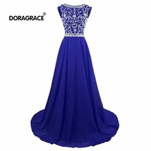Doragrace Real Photo Sleeveless A-Line Chiffon Long Beaded Eening Dresses Prom Gowns Royal Blue Burgundy