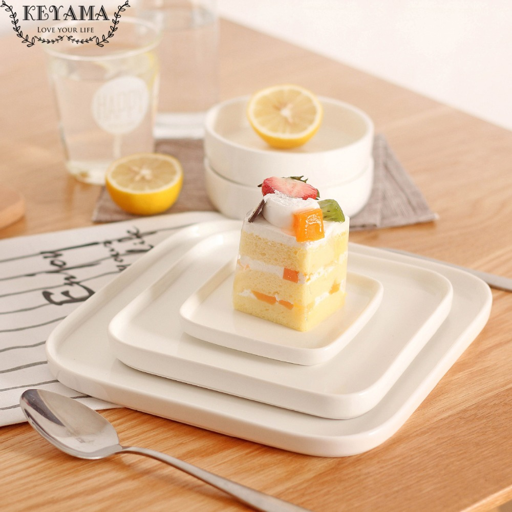 1Pcs Solid White Square ceramic Dinner plates Salad plate fruit plates Kitchen cake pan Ceramic coaster kitchen breakfast plates-in Dishes \u0026 Plates from ...  sc 1 st  AliExpress.com & 1Pcs Solid White Square ceramic Dinner plates Salad plate fruit ...
