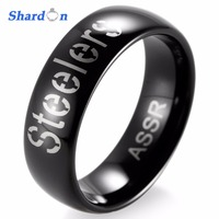 SHARDON Wedding band Engagement jewelry Tungsten Rings for Men High polished Pittsburgh Steelers Alternate Logo Ring