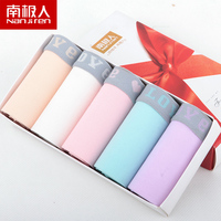 Brand New High Quality Large Size Women's Cotton Cute Panties Candy Color Middle Waist Triangle Briefs Boxed Underwear 5ps/lot