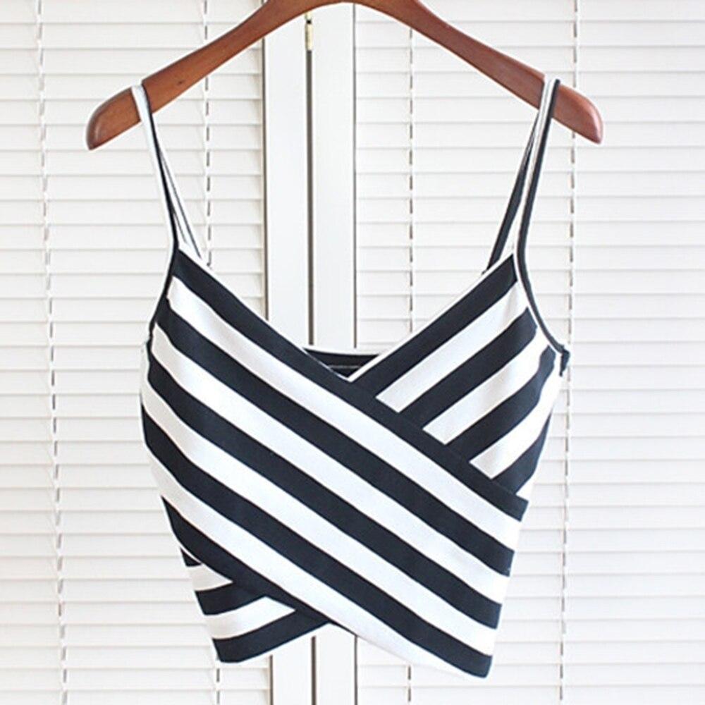 Striped Crop Cami Top Women Casual Spaghetti Strap Top Vest 2018 Summer sexy Beach Vest short striped camis Womens tops
