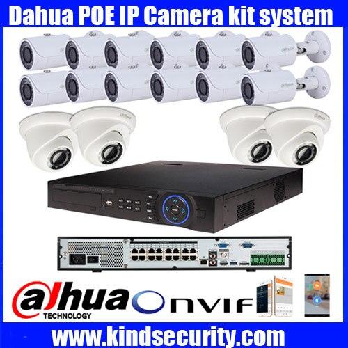 DAHUA NVR4416 16P 16ch 5MP smart POE IP camera system kit with DaHua IPC HDW4421S hfw4421s