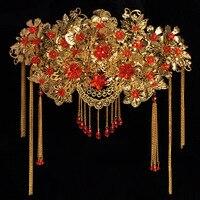 2016 New Xiuhe Clothing Accessories Wedding Bride Headdress Tassel Frontlet Cheongsam Costume Hair Coronet Crown