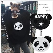 NEW panda Reversible Change color Sequins Sew On Patches for clothes DIY Patch Applique Bag Clothing Coat Sweater Crafts