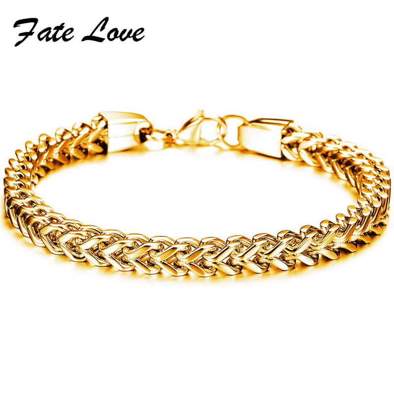 Classic man jewelry gold plated figaro chain bracelet for Does gold plated jewelry fade