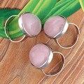 XSM Популярные Посеребренная Овальной Формы Камень Изменение Размера Природный Розовый Кварц Кольцо Розового Кварца Ювелирных Изделий