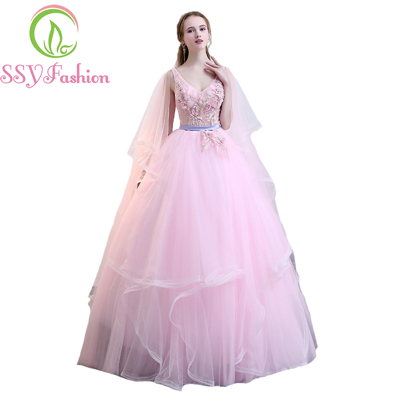 SSYFashion 2017 New Sweet Pink Lace Prom Dress Photography Lace Appliques V-neck A-line Floor-length Banquet Party Formal Gowns