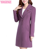 Large Size Women Dress Spring Windbreaker Long Section New Women Basic Coats High Quality Pure Color