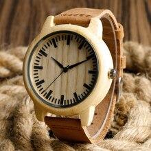 Мода Свет ручной Деревянные Часы, Сделанные из Бамбука Наручные Часы с Кожаный Ремешок для Мужчин Женщин relojes де-мадера