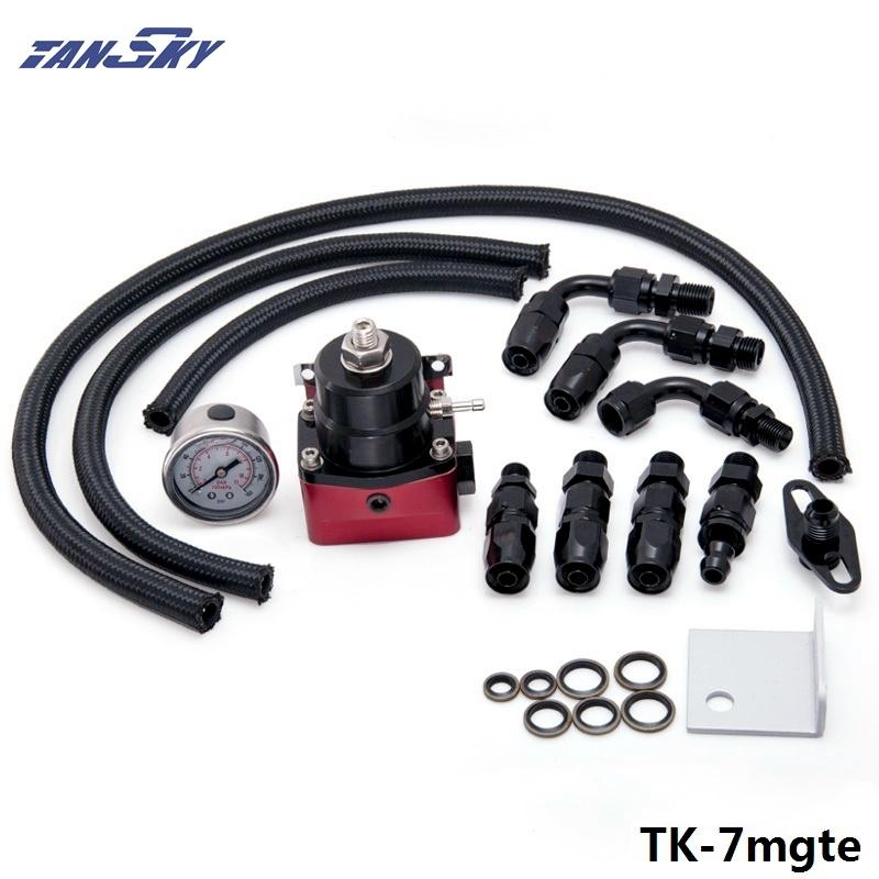 Prix pour TANSKY-Réglable Régulateur de Pression de Carburant Kits 160psi Jauge AN6 Tressé Tuyau D'huile Noir + Rouge Pour Ford Mustang 05-10 TK-7mgte