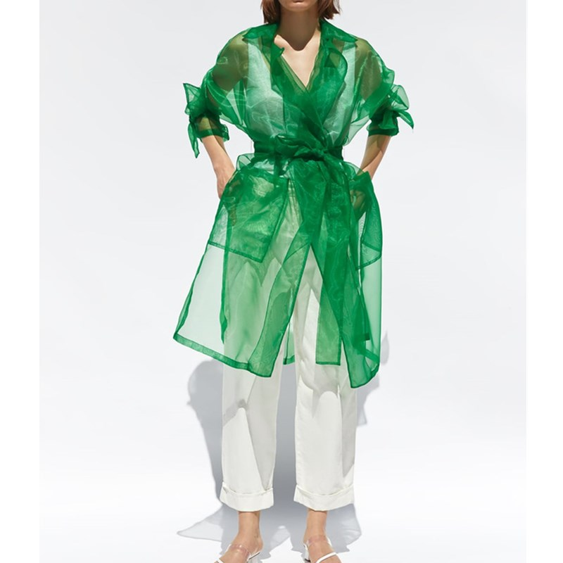 Chic Women Green Organza   Trench   Outwear Adjustable Waist 2019 Autumn Ladies Transparent   Trench   Summer Long Sunscreen Coat