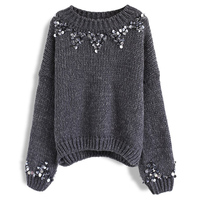 Autumn Winter Women Solid Color Knitted Sweater Fashion Sequined Sweater Women Drop Shoulder O Neck Pullover Top Knitwear Shirt