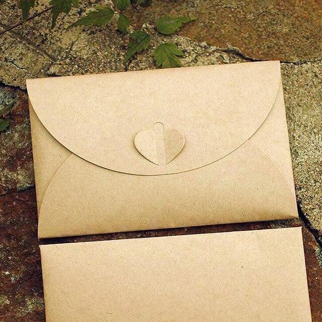 50pcs/lot Handmade Heart Kraft Envelope Vintage Envelopes Retro Stationery Set Postcard Photo Storage Christmas Gift Package P0 Mail & Shipping Supplies