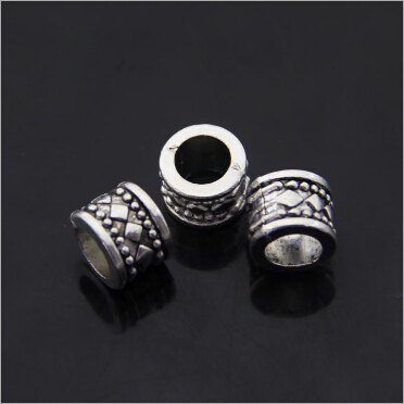 20pcs lot Tibetan Silver Beads Vintage DIY Jewelry Bracelet Big Hole Spacer Beads Wholesale