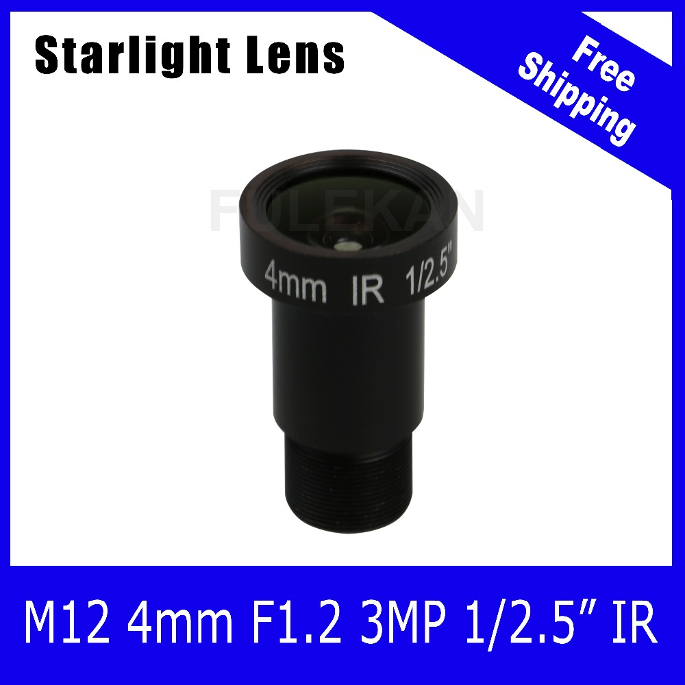 Starlight Lens 3MP 4mm Fixed Aperture F1.2 For SONY IMX290/IMX291 IP Camera Free Shipping starlight lens 3mp 4mm fixed aperture f1 5 for sony imx290 imx291 ip camera free shipping
