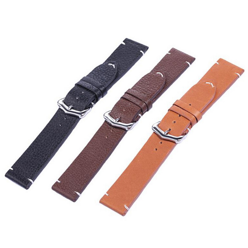 neway 100% Genuine Leather Watch Band Wrist Strap 18mm 20mm 22mm Steel Buckle Replacement Bracelet Belt Men Women Black Brown 18mm 20mm 22mm ceramic watch band for citizen butterfly buckle wactchband replacement strap wrist belt bracelet black gold white