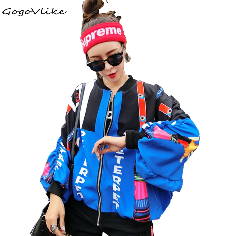 Bomber Jacket Women Jacket Graffiti Print Women Coats and Jackets 2018 Spring Autumn Pockets Casual Coat Big Size LT374S50