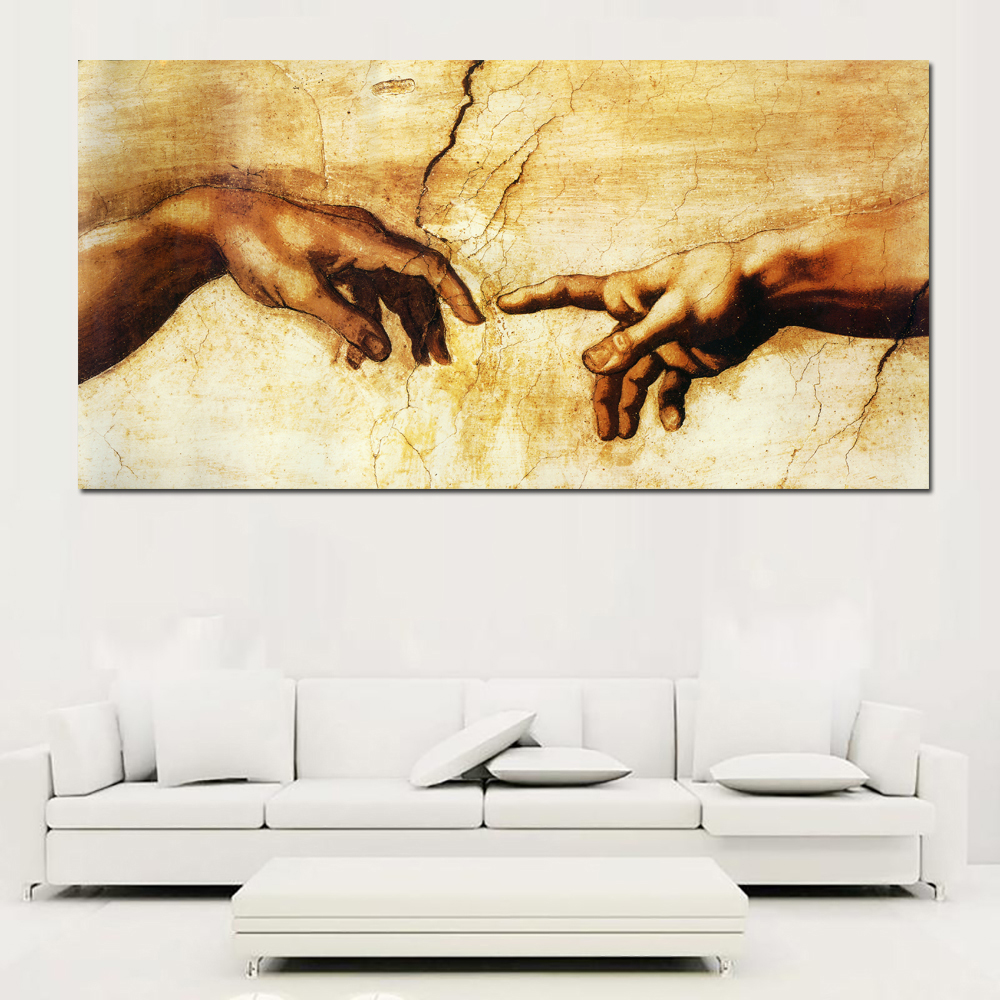 Creation of Adam Hand of god Religion wall Canvas Prints painting ...