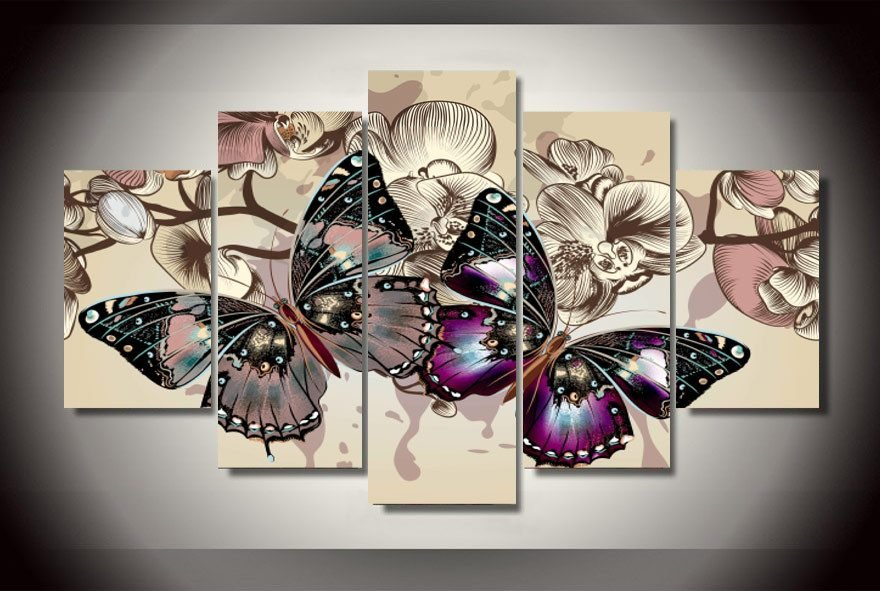 5 pieces set butterflies wall art pictures for home decoration abstract painting print on canvas fresh
