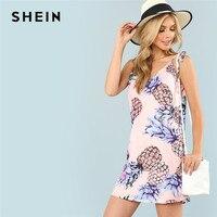 7dc5930075 SHEIN Pineapple Print Multicolor Spaghetti Strap Vacation Women Summer Dress  Boho Bohemian Cami Shift Casual 2018 Beach Dress