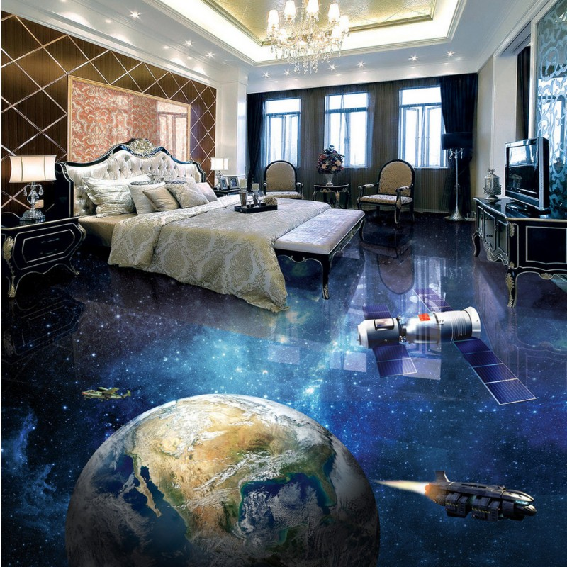 купить Free shipping lobby bedroom flooring waterproof custom thickened wallpaper living room bathroom Star Earth 3D Floor mural по цене 7992.84 рублей