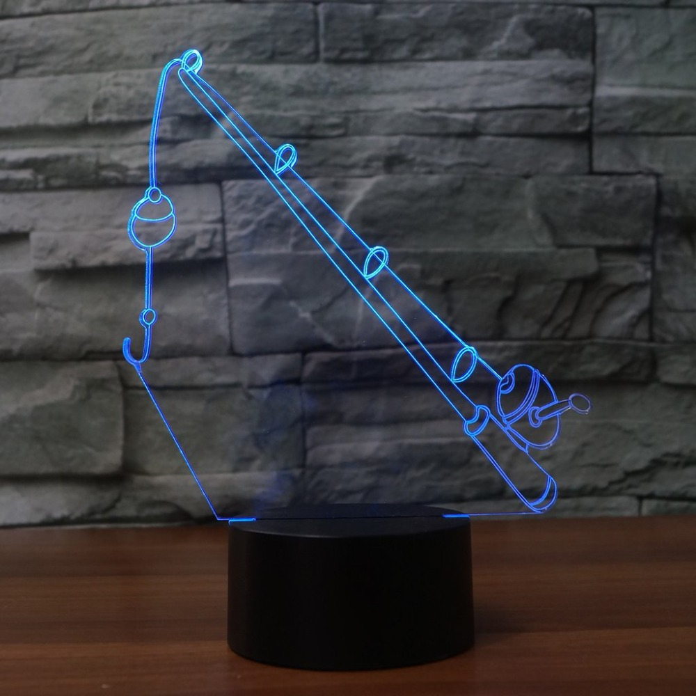 Usb Visual Luminaria 7 Colors Night Lights Fishing Rod Modelling Lamp Touch Button 3D Led Table Lamp Baby Sleeping Night Lights