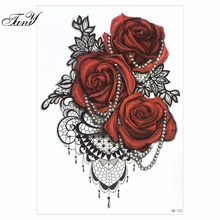 Hot Sexy 3D Stereo Waterproof Tattoo Stickers, Alphabet Rose Flower Pattern Sexy Chest Waist Arms Back Body Makeup Decals