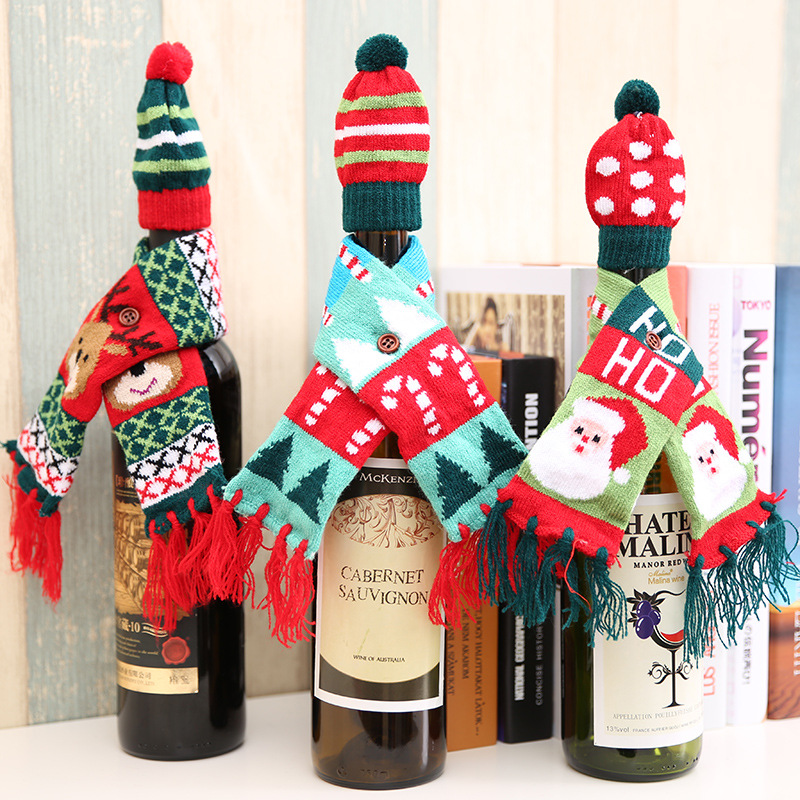 Mini Christmas Hat Scarf For Red Wine Bottle Cover Santa Claus Christmas Tree Elk Dot Stripe Hat Scarf Dining Table Decor XMAS
