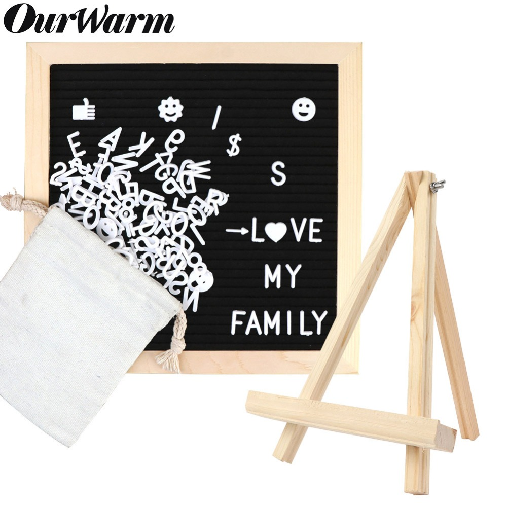 OurWarm DIY Felt Letter Board With Changeable Letters Characters Message Board Bar Sign Plates Wedding Birthday Party Decoration