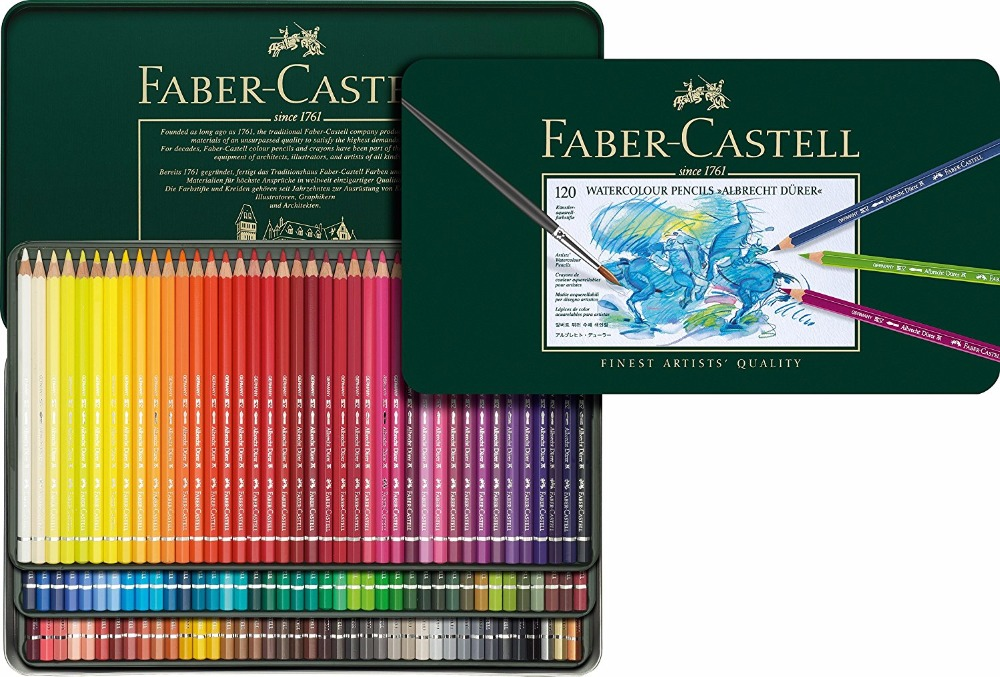 цена на FABER CASTELL 60 color artist water-soluble 120 green color lead tin water color pencils