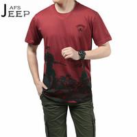 JI PU Red/White O-neck Casual Printed Man's Loose Cotton T shirt,Short Sleeve Summer Breathe motorcycle Pullover Out Wear