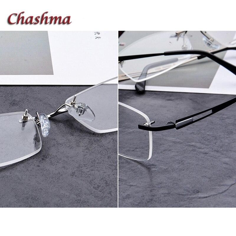 Reinem Gläser Mit Titan Männer Rahmen Brille Chashma Breites Bereit silver Randlose Brillen Graduation Rezept Gesicht Black wqA7qIfg