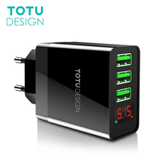 TOTU LED Display 3 USB Mobile Phone Charger For iPhone Samsung Tablet Max 2.4A Universal Fast Charging USB Wall Charger EU/US/UK