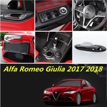 Carbon Fiber Car Full interior Air Vent/Headlight Window Lifter Switch Seat Adjust Button Cover For Alfa Romeo Giulia 2017 2018
