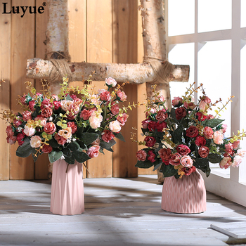 Luyue European Retro fake rose wedding & home artificial flowers silk Peony bride bouquet small flower heads wreath diy Garland