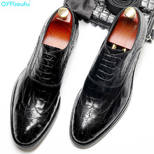 Handmade Designer Luxury Wedding Formal crocodile shoes Business Men's dress shoes Genuine Leather Mens Derby oxford sipriks luxury mens dress shoes unique designer derby shoes handsome sewing welted shoes rubber sole work flats 2018 new style