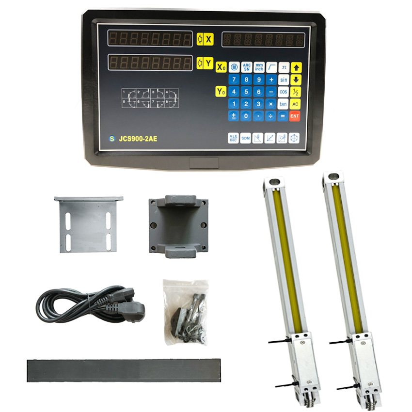 Complete 2 AXIS DRO Set/Kit Digital Readout Display JCS900-2AE with 2 PCS 1U Micron 50mm to 1000mm Linear Optical RulersComplete 2 AXIS DRO Set/Kit Digital Readout Display JCS900-2AE with 2 PCS 1U Micron 50mm to 1000mm Linear Optical Rulers