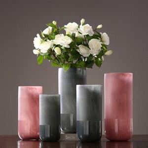 Креативная стеклянная ваза, серый розовый простой стеклянный террариум, Настольная ваза для цветов, jarrones decorativos, Современный Свадебный Деко...