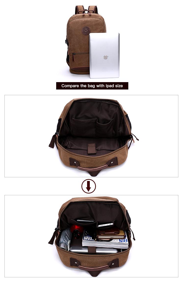 solid color large capacity laptop vintage backpack wholesale black vintage backpack