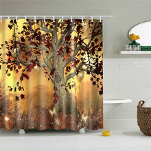 1pc Oil Painting Tree Pattern Waterproof Shower Curtain Bathroom Curtain next to Bathtub Washable Bath Curtain With 12pcs Hooks animal pattern shower curtain with 12pcs hook