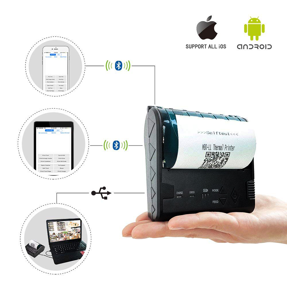Portable 80mm bluetooth thermal printer Andriod iOS windows Mini wireless bluetooth Receipt POS Printer 80 pos system printer 80mm high speed 300mm s thermal receipt printer auto cutter windows android ios bluetooth pos printer