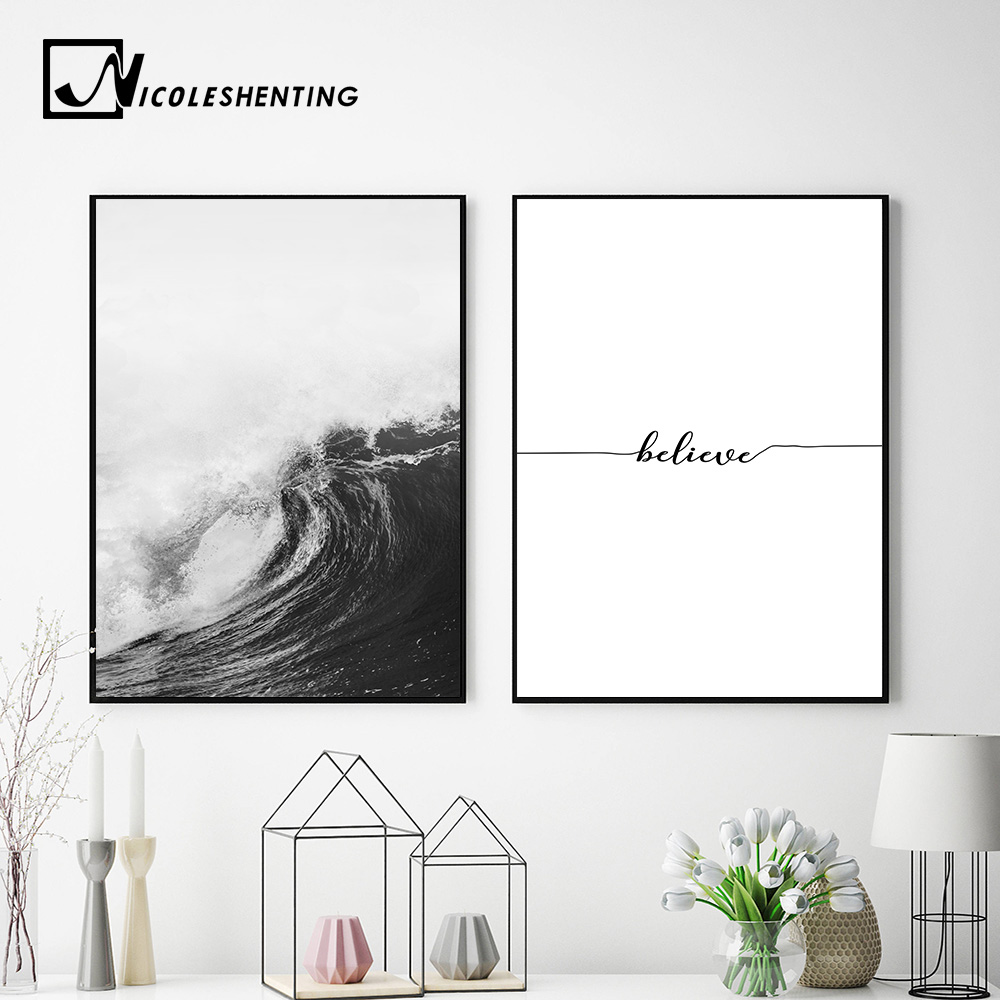 Black White Ocean Waves Canvas Nordic Posters Prints Sea Landscape Scandinavian Wall Art Painting Wall Pictures For Living Room Painting Calligraphy Aliexpress