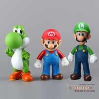 Figurines en PVC Super Mario Bros Mario Yoshi Luigi Collection jouets poupées 3 pièces/ensemble
