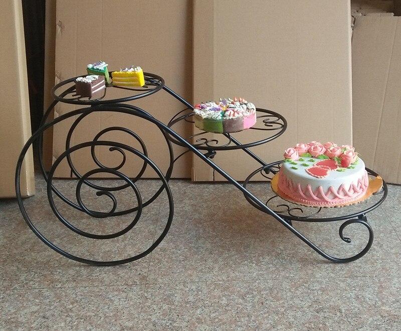 Grand plateau en métal de gâteau de support de gâteau (8 pouces-14 pouces) support de présentoir de Cupcake de 3 niveaux support de plateau de désert de fête d'anniversaire de mariage - 4