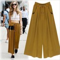 Pantalones anchos de la pierna de mujer gasa más el tamaño negro amarillo de los pantalones de vestir pantalones de cintura elástica Casual Loose Harem Pant 5XL