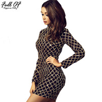 Aimeeka Summer 2017 Black Dress Sexy Bodycon Long Sleeve Sheath Gold Pattern Mesh High Neck Dresses