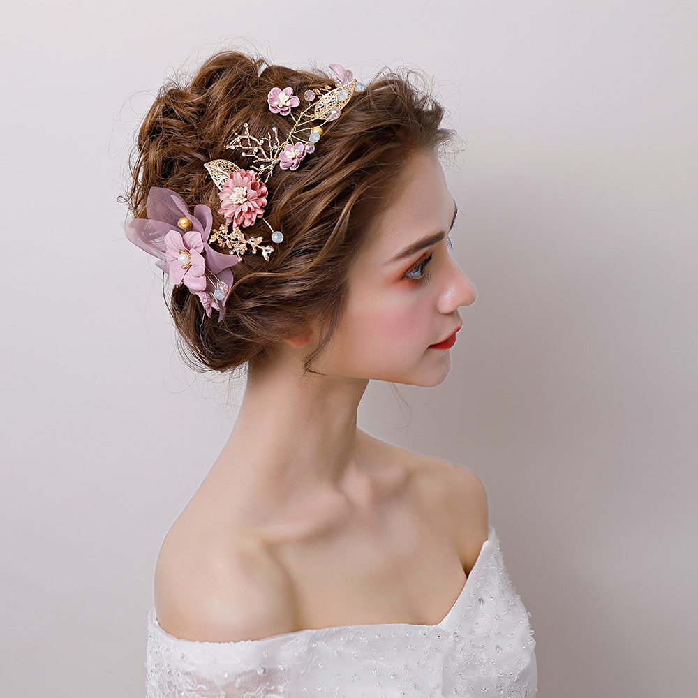 Romantic Pink Fabric Flower Headband
