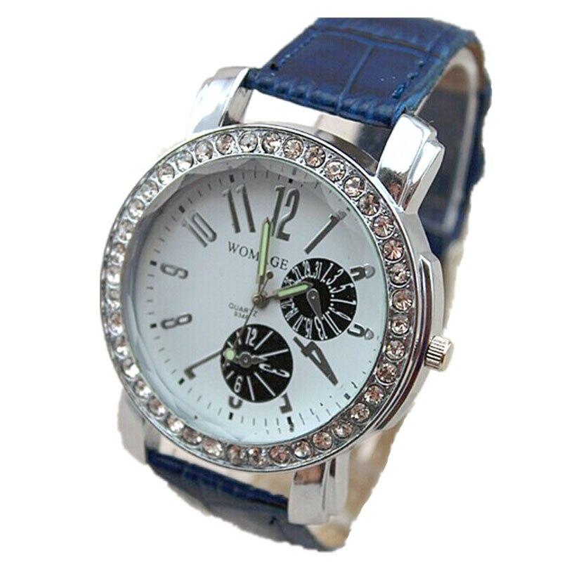 ed3cf8ee5f1 Popular modelo de luxo da marca womage rodada cristal assista 8 cores  pulseira de couro lady elegance assistir mulheres moda quartzo relógio de  pulso
