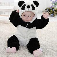 2016 New Newborn Baby Cute Animal Panda Long Sleeve Cotton Winter Hooded Romper Baby Costume Clothing