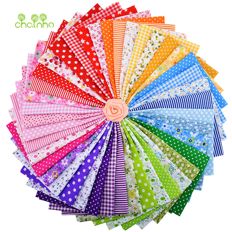 42Pcs / Lot Plain Thin Bomull Tyg Patchwork För DIY Quiltning Syv Fat Quarters Bundle Tissue Telas Tilda Needlework 50 * 50cm